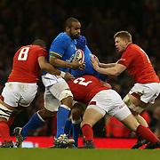 Cardiff 11/03/2018, Principality Stadium<br /> Natwest 6 nations 2018<br /> Galles vs Italia<br /> Maxime Mbanda&rsquo;  placcato da Elliot Dee