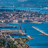 A view of the city, the old port and the Gulf of Trieste in Italy