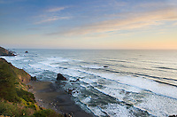 Sunset on the Redwoods Coast of Northern California from Vista Point, DelNorte Redwoods State Park California
