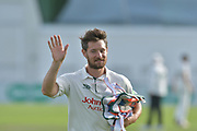 Ross Herridge leaves the field during the Specsavers County Champ Div 2 match between Sussex County Cricket Club and Nottinghamshire County Cricket Club at the 1st Central County Ground, Hove, United Kingdom on 28 September 2017. Photo by Simon Trafford.