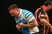 Gerwyn Price celebrates beating Mensur Suljovic to reach the final during the BWIN Grand Slam of Darts at Aldersley Leisure Village, Wolverhampton, United Kingdom on 18 November 2018.