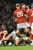 Rugby Union - 2018 Autumn Internationals (Under Armour Series) Wales vs. South Africa<br /> <br /> George North, of Wales celebrates victory at The Millennium Stadium.<br /> <br /> COLORSPORT/WINSTON BYNORTH