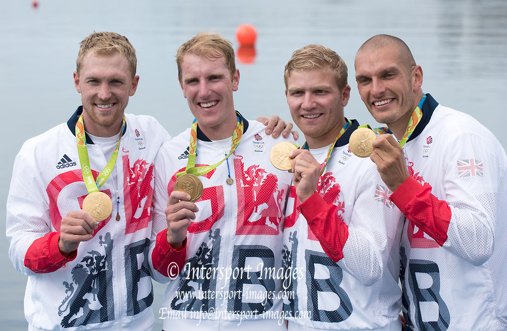 Rio de Janeiro. BRAZIL  Gold Medalist  Men's Four Final. GBR M4-, Bow. Alex GREGORY, No SHIBI, George NASH and Stan LOULOUDIS., 2016 Olympic Rowing Regatta. Lagoa Stadium,<br /> Copacabana,  &ldquo;Olympic Summer Games&rdquo;<br /> Rodrigo de Freitas Lagoon, Lagoa. Local Time 17:07:35  Friday  12/08/2016<br /> [Mandatory Credit; Peter SPURRIER/Intersport Images]