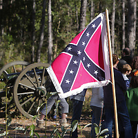 A Confederate Flag is displayed Sunday February 8, 2015 during the 10th Annual Civil War Living History Weekend at Cameron Art  Museum. The Weekend commemorated the Battle of Forks Road. (Jason A. Frizzelle)