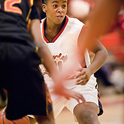 December 15, 2010 - Bronx, NY : JFK's Shaquaya Daniels  looks for an opening in the Blazers' stifling defense during the Knights' 67-58 loss to the Murry Bergtraum Lady Blazers on Dec. 15.
