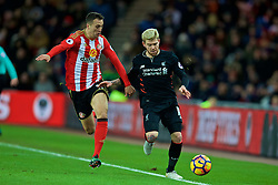 SUNDERLAND, ENGLAND - Monday, January 2, 2017: Liverpool's Alberto Moreno in action against Sunderland's Javier Manquillo during the FA Premier League match at the Stadium of Light. (Pic by David Rawcliffe/Propaganda)
