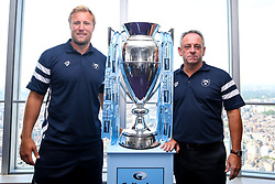 Jordan Crane and Mark Tainton of Bristol Bears with the Premiership Trophy at the launch of the 2018/19 Gallagher Premiership Rugby Season Fixtures - Mandatory by-line: Robbie Stephenson/JMP - 06/07/2018 - RUGBY - BT Tower - London, England - Gallagher Premiership Rugby Fixture Launch