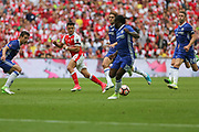 Arsenal's Alexis Sánchez(7) passes the ball out wide during the The FA Cup final match between Arsenal and Chelsea at Wembley Stadium, London, England on 27 May 2017. Photo by Shane Healey.