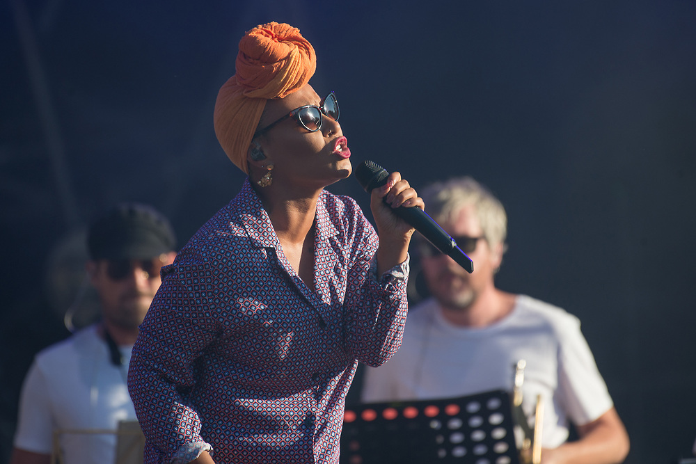 Glasgow, Scotland, UK. 1st July, 2018. Emeli Sande in concert at The Fiesta x Fold Festival, Credit: Stuart Westwood/Alamy Live News