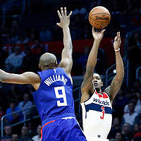 09 December 2017: Washington Wizards guard Bradley Beal (3) takes a jump shot over LA Clippers forward C.J. Williams (9) during the LA Clippers 113-112 victory over the Washington Wizards, at the Staples Center, Los Angeles, California, USA.