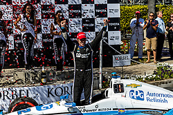 "LONG BEACH, CA - APRIL 17 Simon Pagenaud raced to his first victory for Team Penske by holding off Scott Dixon in the caution-free Grand Prix of Long Beach. ""This is my favorite street course,"" Pagenaud said. ""To win here, especially in Indy car, given the level of competition, is amazing. The PPG car is good luck on me. Every time I'm in that car, I'm on the podium. I'm glad to represent those guys and glad to represent Chevrolet as well. First win (that he has secured) for Roger (Penske), so check. 2016 April 17. Byline, credit, TV usage, web usage or linkback must read SILVEXPHOTO.COM. Failure to byline correctly will incur double the agreed fee. Tel: +1 714 504 6870."