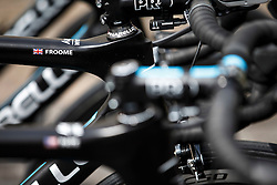 A detail of the bike of Team Sky rider Chris Froome (Great Britain) at Rudding park near Harrogate, location of the teams Hotel - Photo mandatory by-line: Rogan Thomson/JMP - 07966 386802 - 04/07/2014 - SPORT - CYCLING - Harrogate, Yorkshire - Le Tour de France Grand Depart Previews.