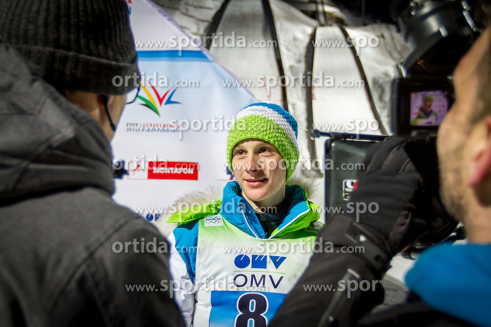 Domen Prevc after winning gold medal in team event at 12th European Youth Olympic Winter Festival in Vorarlberg and Liehtenstein on January 28, 2015. (Photo by Peter Kastelic / Sportida.com)