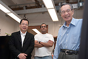 "Yuan-Cheng ""Bert"" Fung, recipient of the 2007 Fritz J. and Dolores H. Russ Prize having breakfast with students in Stocker...David Tees/Doug Goetz lab, ""Leukocyte Adhesion in Capillary Sized Microvessels""..Left to right:..Wei Huang(UCSD Associate project scientist), Prithu Sundd, and Yuan-Cheng ""Bert"" Fung.....Russ Prize winner to speak on biomechanics..Yuan-Cheng ""Bert"" Fung, recipient of the 2007 Fritz J. and Dolores H. Russ Prize, will give a public lecture titled, ?Biomechanics: The Road to Understanding Living Systems,? from 2:10 to 3 p.m. Thursday, Sept. 27, in Ohio University's Baker University Center Theatre.  ..Widely considered the father of modern biomechanics, Fung's diverse research endeavors have formed the basis for the entire field of automotive safety design. They also contributed to the development of artificial skin, improved the effectiveness and longevity of prosthetic devices and enabled the military to develop safer non-lethal weapons and personal body armor. Fung is currently a professor emeritus of bioengineering at the University of California, San Diego, where he founded the bioengineering program...In addition to his public lecture, Fung will also tour Ohio University biomedical engineering labs and meet with Ohio University faculty, leaders, and the Russ College Engineering Ambassadors. ..The late Ohio University graduate Fritz Russ and his wife, Dolores, created the Russ Prize in 1999. The $500,000 award, one of the top three engineering prizes in the world, recognizes engineering achievement that significantly improves the human condition. All Russ Prize winners are invited to give a lecture at Ohio University...Fung's lecture is free and open to the public. A reception will follow outside the theater."