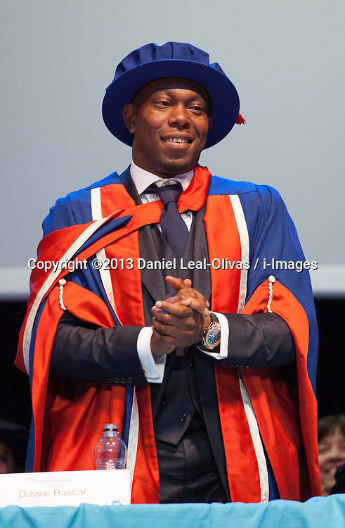 Dizzee Rascal receives an honorary degree at the University of East London in London, Thursday, 21st November 2013. Picture by Daniel Leal-Olivas / i-Images