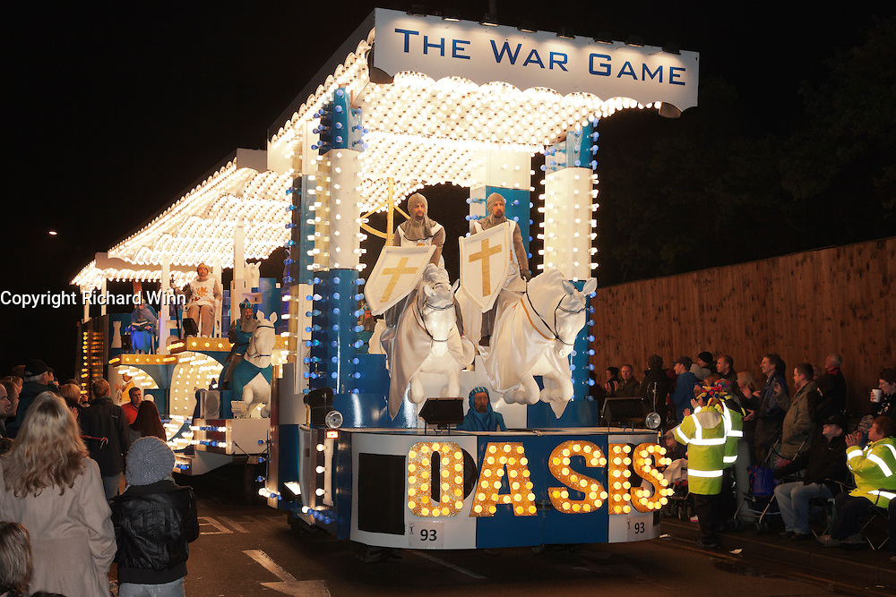 The War Game by Oasis Carnival Club in 2011. Bridgwater Carnival is an annual event to raise money for local charities. It is widely reputed to be the largest illuminated carnival in the world.