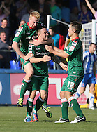 Picture by Paul  Gaythorpe/Focus Images Ltd +447771 871632.08/09/2012.Matty Robson of Carlisle United celebrates scoring the winning goal against Hartlepool United during the npower League 1 match at Victoria Park, Hartlepool.