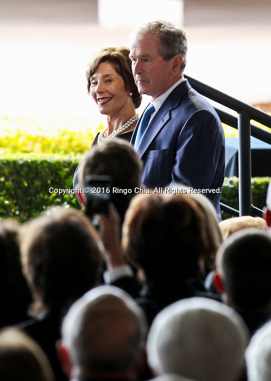 Former president George W. Bush and Former First Lady Laura Bush arrival during a funeral service for the former first lady Nancy Reagan at the Ronald Reagan Presidential Library and Museum in Simi Valley, California on March 11, 2016. Reagan died of congestive heart failure in her sleep at her Bel Air home Sunday at age 94. A bout 1,000 guests from the world of politics attended the final farewell to Nancy Reagan as the former first lady is eulogized and laid to rest next to her husband at his presidential library.<br />    (Photo by Ringo Chiu/PHOTOFORMULA.com)<br /> <br /> Usage Notes: This content is intended for editorial use only. For other uses, additional clearances may be required.