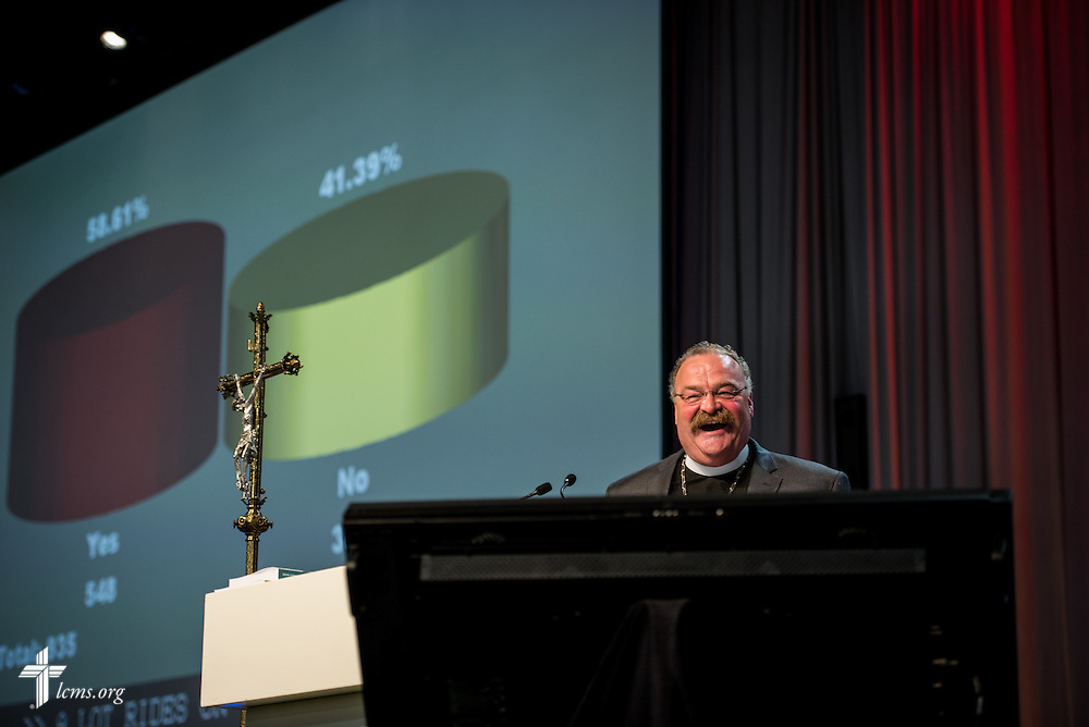 "The Rev. Dr. Matthew C. Harrison, president of the LCMS, reacts to the ""Mustache vote"" on Tuesday, July 12, 2016, at the 66th Regular Convention of The Lutheran Church–Missouri Synod, in Milwaukee. LCMS/Michael Schuermann"