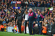 Aston Villa manager Steve Bruce shows his frustration with 3 minutes added time during the EFL Sky Bet Championship match between Fulham and Aston Villa at Craven Cottage, London, England on 17 April 2017. Photo by Jon Bromley.