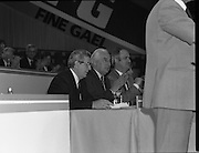 Fine Gael 63rd Ard Fheis..1986..12.10.1986..10.12.1986..12th October 1986..The 63rd Fine Gael Ard Fheis was held in the R.D.S.Dublin. An Taoiseach, Garret Fitzgerald, gave the leaders' oration to the assembled Fine Gael ranks..Pictured listening to a speech from the podium are: An Taoiseach, Garret Fitzgerald TD, Mr Peter Barry TD, Minister for Foreign Affairs and the Minister for Finance,Mr John Bruton.