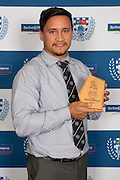 The 2016 Top Premier Points Scorer is Tyrone Elkington-MacDonald from University with 231 points which includes 6 tries, 39 conversions & 17 penalties. Auckland Rugby Union Awards 2016, Eden Park, Auckland, New Zealand on Wednesday, October 26, 2016. Copyright photo: David Rowland / www.photosport.nz