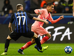 November 7, 2018 - Milan, Italy - Marcelo Brozovic (L) of Inter Milan and Philippe Coutinho of Barcelona vie for the ball during the Group B match of the UEFA Champions League between FC Internazionale and FC Barcelona on November 6, 2018 at San Siro Stadium in Milan, Italy. (Credit Image: © Mike Kireev/NurPhoto via ZUMA Press)