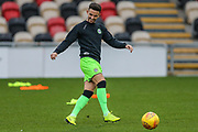 Forest Green Rovers Liam Shephard(2) warming up during the EFL Sky Bet League 2 match between Newport County and Forest Green Rovers at Rodney Parade, Newport, Wales on 26 December 2018.