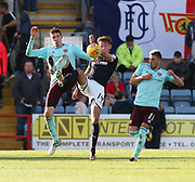 30th September 2017, Dens Park, Dundee, Scotland; Scottish Premier League football, Dundee versus Hearts; Hearts' Kyle Lafferty and Dundee's Mark O'Hara battle for the ball