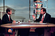 Host Tim Russert talks with Senate Majority Leader Trent Lott during NBC's Meet the Press September 6, 1998 in Washington, DC.
