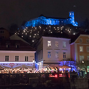 LJUBLJANA, SLOVENIA - DECEMBER 02:  A general view of the Ljubljana Castle decorated with Christmas lights on December 2, 2017 in Ljubljana, Slovenia. The traditional Christmas market and lights will stay until 1st week of January 2018.  (Photo by Marco Secchi/Getty Images)