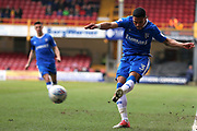 Gillingham defender Bradley Garmston (3) puts a cross in  during the EFL Sky Bet League 1 match between Bradford City and Gillingham at the Northern Commercials Stadium, Bradford, England on 24 March 2018. Picture by Mick Atkins.