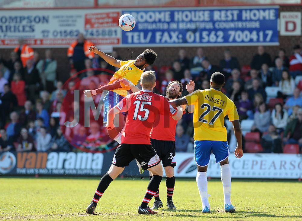 Bristol Rovers' Ellis Harrison wins a header - Photo mandatory by-line: Neil Brookman/JMP - Mobile: 07966 386802 - 06/04/2015 - SPORT - Football - Kidderminster - Aggborough - Kidderminster v Bristol Rovers - Vanarama Football Conference