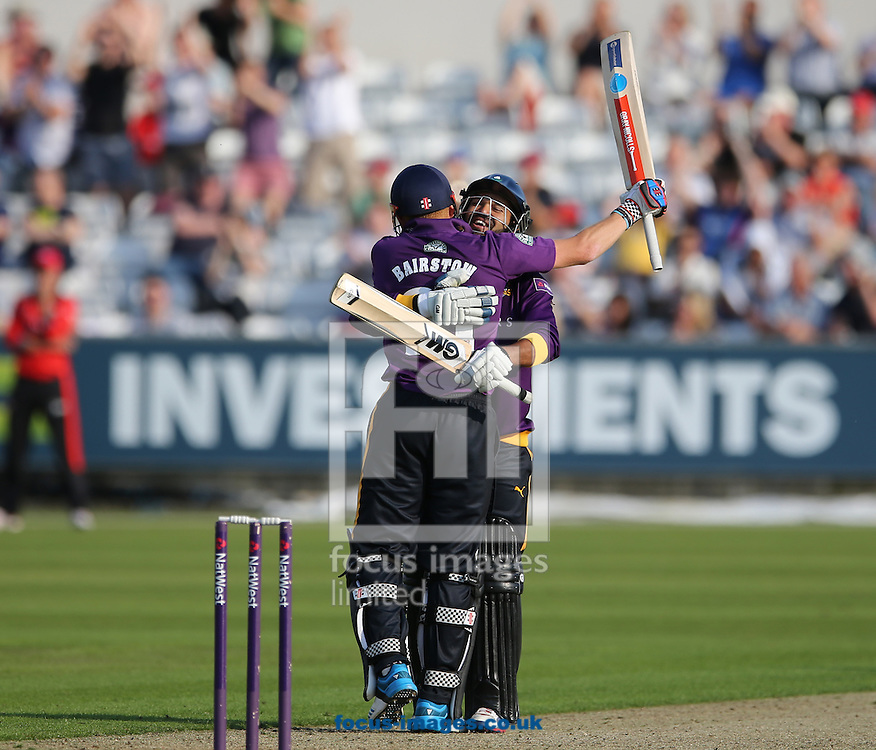 Jonathan Bairstow (l) of Yorkshire Vikings is congratulated   after hitting a century during the Natwest T20 Blast match at Emirates Durham ICG, Chester-le-Street<br /> Picture by Simon Moore/Focus Images Ltd 07807 671782<br /> 11/07/2014