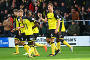 Burton Albion's Ben Turner heads a goal to make the score 1-0 and celebrates with Burton Albion's Lloyd Dyer during the EFL Sky Bet Championship match between Burton Albion and Ipswich Town at the Pirelli Stadium, Burton upon Trent, England on 28 October 2017. Photo by John Potts.