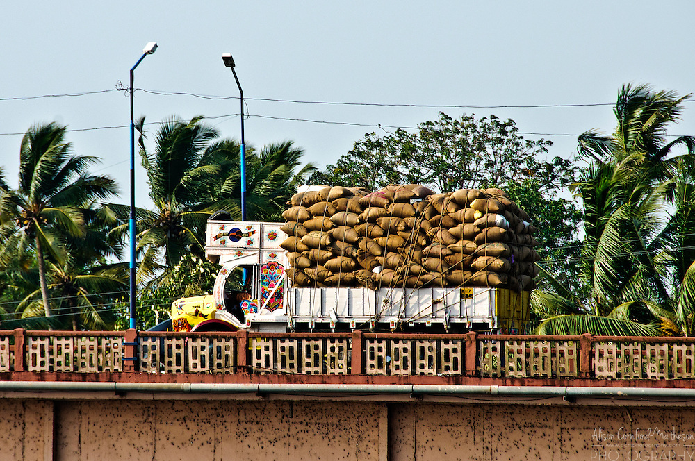 A truck decorated with painted designs carries cargo in Kerala, India