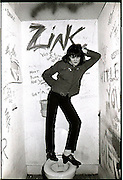 Exene Cervenka of X in the bathroom at the Masque.