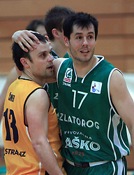 Miha Cmer and Dario Krejic at 12th Round of UPC League basketball match between KK Luka Koper and KK Zlatorog Lasko, on May 2, 2009, in Arena Bonifika, Koper, Slovenia. Zlatorog won the match 72:71. (Photo by Vid Ponikvar / Sportida)