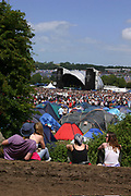 People looking over to the second stage, Glastonbury 2005