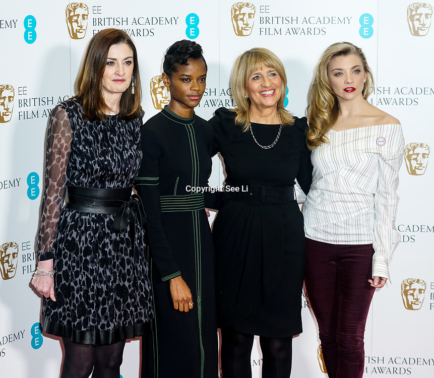 London, England, UK. 9th January 2018. Amanda Berry, Letitia Wright,Jane Lush ,Natalie Dormer attend EE British Academy Film Awards Nominations, London, UK