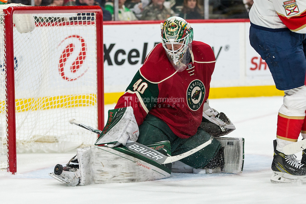 Dec 13, 2016; Saint Paul, MN, USA; Minnesota Wild goalie Devan Dubnyk (40) makes a save during the second period against the Florida Panthers at Xcel Energy Center. Mandatory Credit: Brace Hemmelgarn-USA TODAY Sports