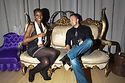 NADEZHDA ROBINSON; TOM MCCALL, Frieze week party at the Sanderson hotel hosted by Andrew Kreps Gallery and Anton Kern Gallery . Billiard Room at Sanderson. London. 16 October 2010. <br /> <br /> -DO NOT ARCHIVE-© Copyright Photograph by Dafydd Jones. 248 Clapham Rd. London SW9 0PZ. Tel 0207 820 0771. www.dafjones.com.
