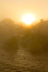 © Licensed to London News Pictures. 02/10/2019. Builth Wells, Powys, Wales, UK. Mist surrounds the Welsh town of Builth Wells in Powys on the banks of the river Wye after a very cold night with temperatures dropping to around 3 deg C. Photo credit: Graham M. Lawrence/LNP
