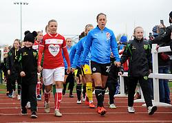 Bristol City Women walk out on to the pitch with mascots - Mandatory by-line: Nizaam Jones/JMP- 31/03/2019 - FOOTBALL - Stoke Gifford Stadium - Bristol, England - Bristol City Women v Reading Women - FA Women's Super League 1