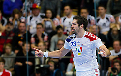 19.01.2011, Kristianstad Arena, SWE, IHF Handball Weltmeisterschaft 2011, Herren, Deutschland (GER) vs Frankreich (FRA) im Bild, // Frankrike France 13 Nikola Karabatic cheers after a goal // during the IHF 2011 World Men's Handball Championship match  Germany (GER) vs France (FRA) at Kristianstad Arena, Sweden on 19/1/2011.  EXPA Pictures © 2011, PhotoCredit: EXPA/ Skycam/ Johansson +++++ ATTENTION - OUT OF SWEDEN/SWE +++++