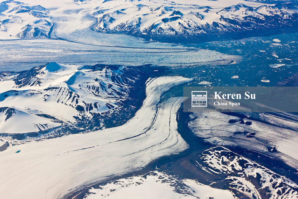 Aerial view of three glaciers, Longyearbyen, Spitsbergen, Norway, Arctic