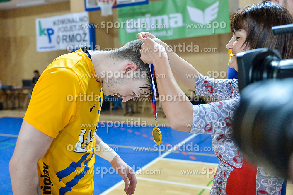Malus Jaka of RK Celje Pivovarna Lasko during handball match between RK Krka and RK Celje Pivovarna Lasko in the Final of Slovenian Men Handball Cup 2018, on April 22, 2018 in Sportna dvorana Ljutomer , Ljutomer, Slovenia. Photo by Mario Horvat / Sportida