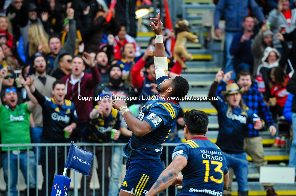 Waisake Naholo of the Highlanders celebrates his try with Malakai Fekitoa of the Highlanders during the Super Rugby match, Crusaders V Highlanders, AMI Stadium, Christchurch, New Zealand, 3rd June 2017.Copyright photo: John Davidson / www.photosport.nz