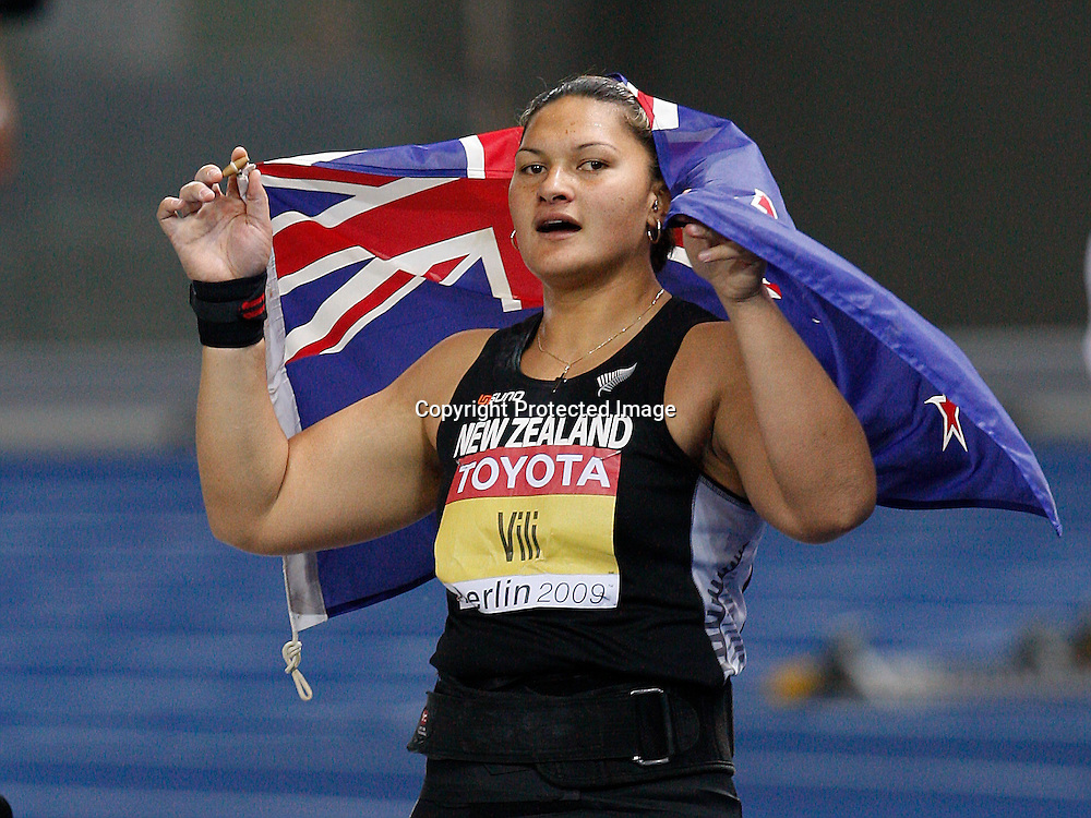 BERLIN 16 August 2009 12th IAAF World Championships in Athletics Berlin 2009. Valerie Vili of New Zealand reacts after winning the women's shot put final during the world athletics championships at the Olympic stadium in Berlin .<br />