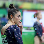 Gymnastics - Olympics: Day 2  Alexandra Raisman #395 of the United States after performing her routine on the Balance Beam during the Artistic Gymnastics Women's Team Qualification round at the Rio Olympic Arena on August 7, 2016 in Rio de Janeiro, Brazil. (Photo by Tim Clayton/Corbis via Getty Images)